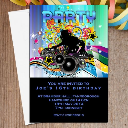 10 Personalised Disco DJ Party Invitations N5